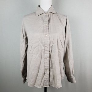 Faconnable Button Front Long Sleeve Super Soft Top